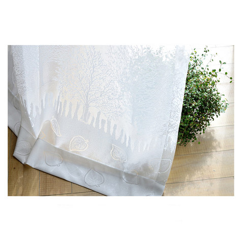 Net Curtain Woodland Walk White Tree And Leaf Jacquard Voile Curtains 6