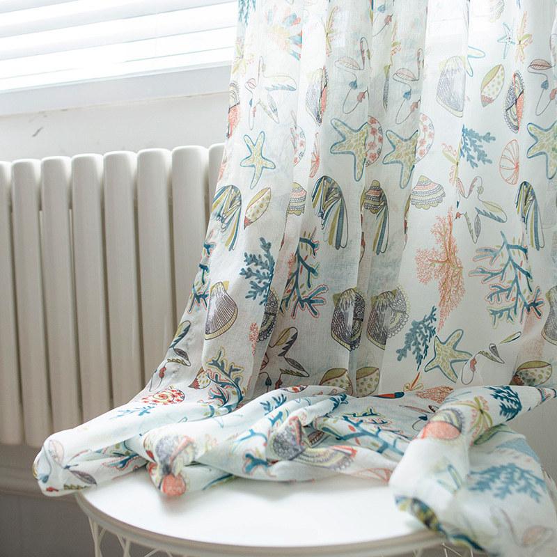 Seaside Spirit Multi Coloured Sheer Voile Curtains Voila Voile