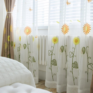 Yellow Sunflower and Butterfly Embroidered Sheer Voile Curtain 1