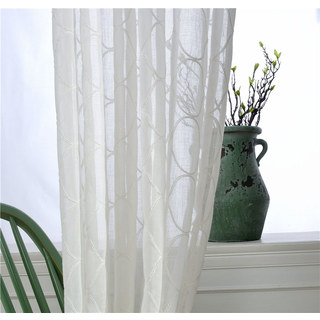 Wave Some Magic Embroidered Botanic Trellis Sheer Creamy White Sheer Voile Curtain 4