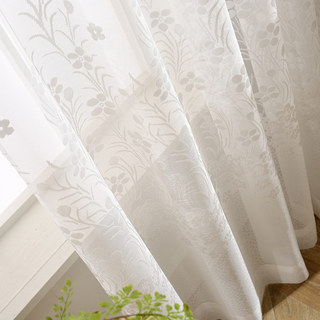 Net Curtain Spring Time Daisy Jacquard White Voile Curtains 4