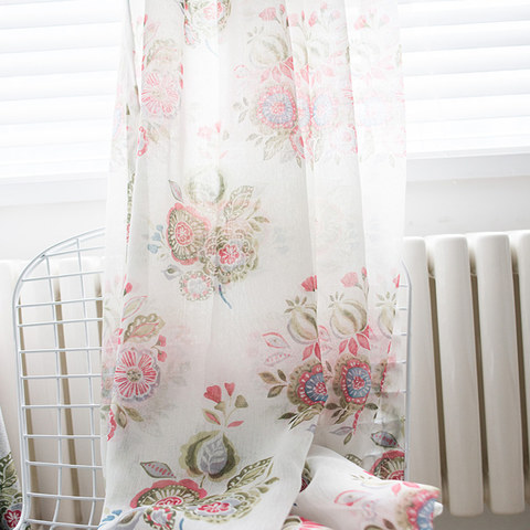 Blue Pink And Green Bunches Of Flowers Sheer Voile Curtain 4