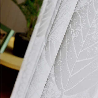 Net Curtain Autumn Days White Geometric Lines And Leaf Design Voile Curtain 5