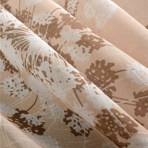 Blossom Latte Brown Cream And Beige Dandelion Semi Sheer Voile Curtain 4