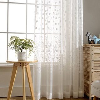 Net Curtain Spring Time Daisy Jacquard White Voile Curtains 1