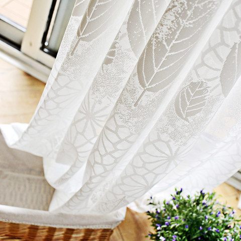 Net Curtain Autumn Days White Geometric Lines And Leaf Design Voile Curtain 3