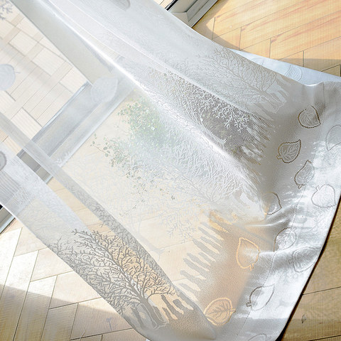 Net Curtain Woodland Walk White Tree And Leaf Jacquard Voile Curtains 2