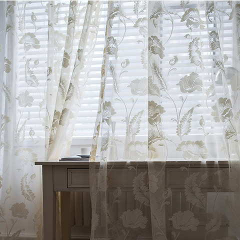 Net Curtain Eden Flower Jacquard Cream Voile Curtains 2