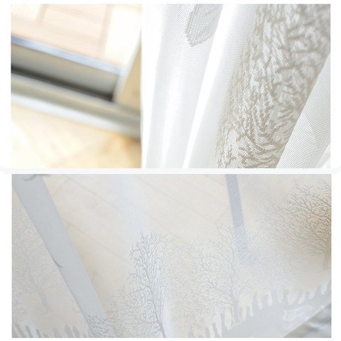 Net Curtain Woodland Walk White Tree And Leaf Jacquard Voile Curtains 7