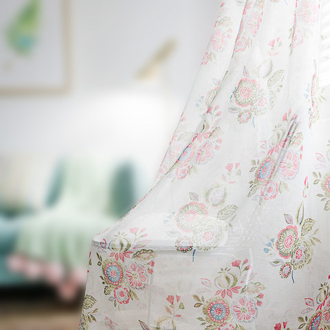 Blue Pink And Green Bunches Of Flowers Sheer Voile Curtain 3