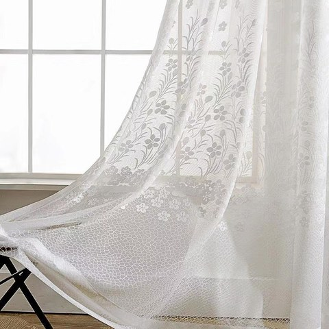 Net Curtain Spring Time Daisy Jacquard White Voile Curtains 2