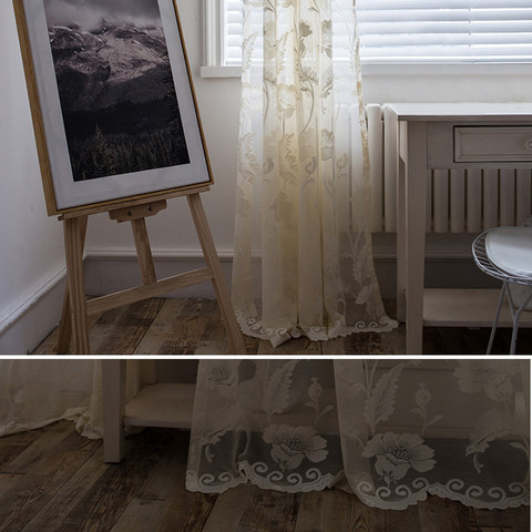 Net Curtain Eden Flower Jacquard Cream Voile Curtains 3