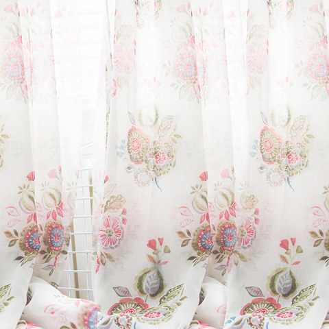 Blue Pink And Green Bunches Of Flowers Sheer Voile Curtain 1