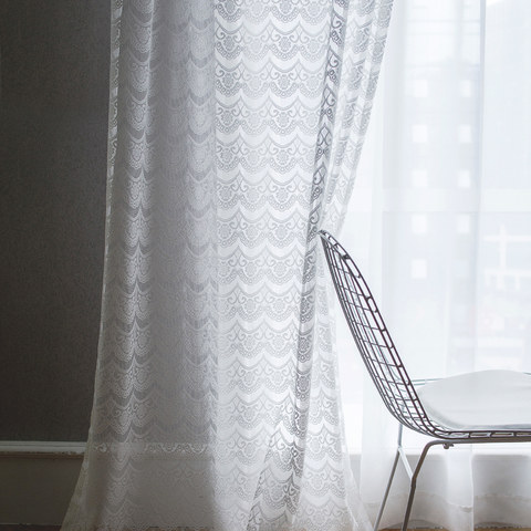 Net Curtain Chelsea Scalloped Design Semi Sheer White Jacquard Voile Curtain 2