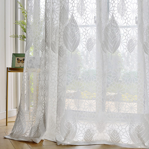 Net Curtain Autumn Days White Geometric Lines And Leaf Design Voile Curtain 1