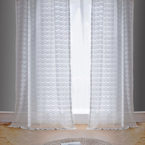 Net Curtain Chelsea Scalloped Design Semi Sheer White Jacquard Voile Curtain 3