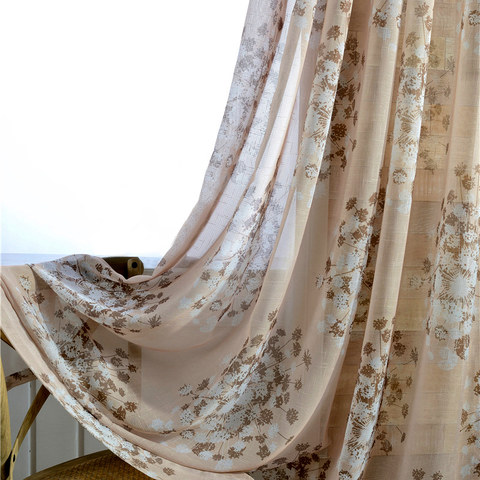 Blossom Latte Brown Cream And Beige Dandelion Semi Sheer Voile Curtain 1