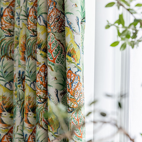 Alexsandra Colourful Leaves Fowers Birds Vibrant Multi Coloured Curtain 3