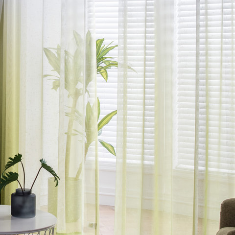 The Perfect Blend Ombre Lime Green sheer Curtain 2