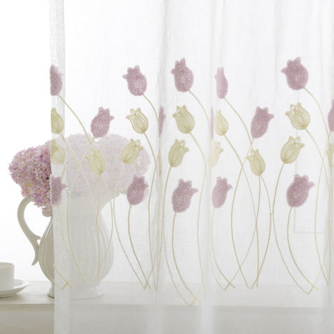Tulip Fever Pink And Yellow Embroidered Floral Sheer Curtain 4