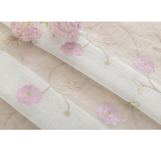 Floral Affairs Pink Flower Embroidered Sheer Curtain 9