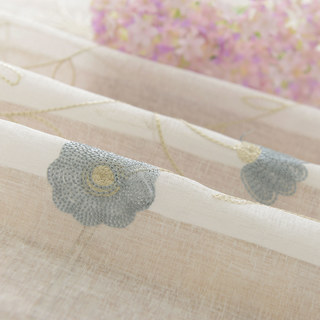 Floral Affairs Grey Blue Flower Embroidered Sheer Voile Curtain 8