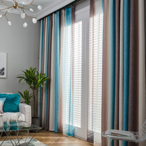 Sea Breeze Cocktail Coconut Shell Brown And Seashore Blue Striped Curtain 1