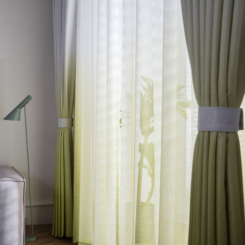 The Perfect Blend Ombre Lime Green Sheer Voile Curtain 1
