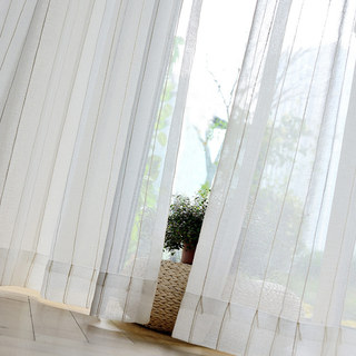 Diana Single Strand Vertical Gold Stitched Lines Sheer Voile Curtain 5