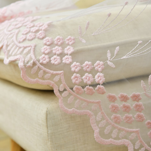 Small Great Things Pink Flower Embroidered Sheer Curtain 5