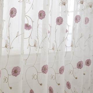 Floral Affairs Pink Flower Embroidered Sheer Curtain 7