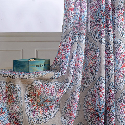 Semi Sheer Curtain Harmony Lotus Paisley Flower Blue White Red Purple Voile Curtain 4