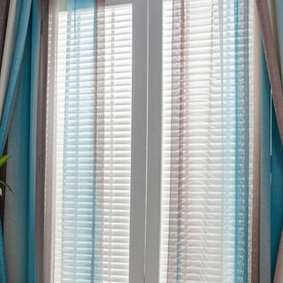 Sea Breeze Cocktail Coconut Shell Brown And Seashore Blue Striped Sheer Voile Curtain 1
