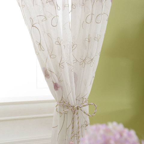 Floral Affairs Pink Flower Embroidered Sheer Curtain 4