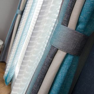 Sea Breeze Cocktail Rock Grey And Beach Blue Striped Curtain 3