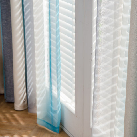 Sea Breeze Cocktail Rock Grey And Beach Blue Striped Sheer Voile Curtain 4