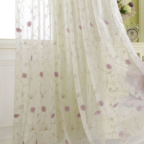 Floral Affairs Pink Flower Embroidered Sheer Curtain 1