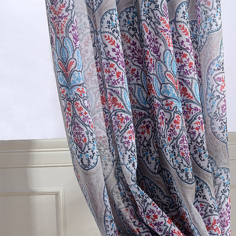 Semi Sheer Curtain Harmony Lotus Paisley Flower Blue White Red Purple Voile Curtain 3