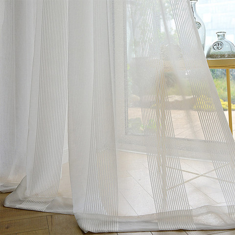 Elizabeth White Semi Sheer Vertical Bands White Lines Sheer Voile Curtain 4