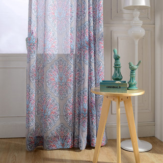 Semi Sheer Curtain Harmony Lotus Paisley Flower Blue White Red Purple Voile Curtain 2