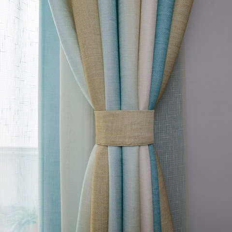 Sea Breeze Cocktail Yellow Beach Sand And Turquoise Sea Striped Curtain 4
