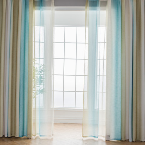 Sea Breeze Cocktail Yellow Beach Sand And Turquoise Sea Striped Curtain 3