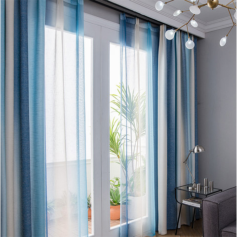 Sea Breeze Cocktail Sea Blue and Coconut White Striped Curtain 2