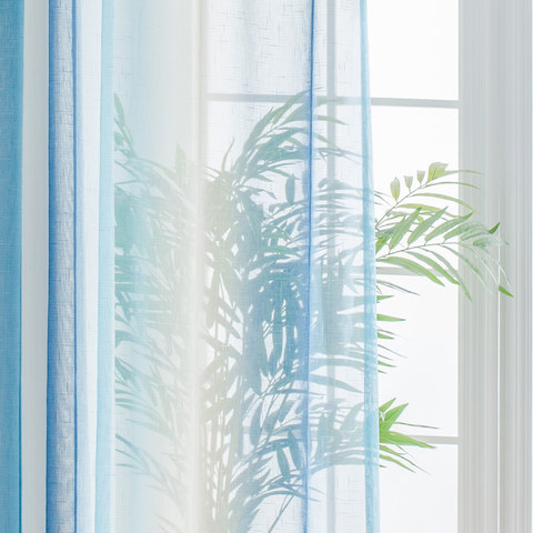 Sea Breeze Cocktail Pastel Sea Blue Coconut White Sheer Voile Curtain 4