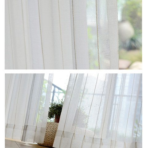 Diana Single Strand Vertical Gold Stitched Lines Sheer Voile Curtain 6