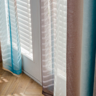 Sea Breeze Cocktail Coconut Shell Brown And Seashore Blue Striped Sheer Voile Curtain 2