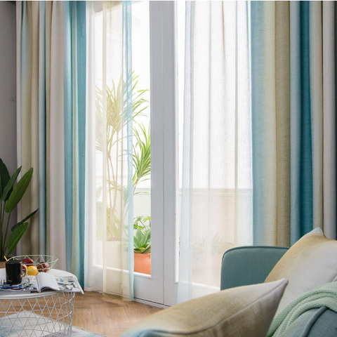 Sea Breeze Cocktail Yellow Beach Sand And Turquoise Sea Striped Sheer Voile Curtain 3