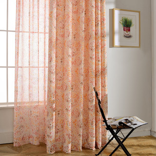 Orange Starburst Paisley patterned Sheer Voile Curtain 1