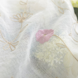 Floral Affairs Pink Flower Embroidered Sheer Curtain 10