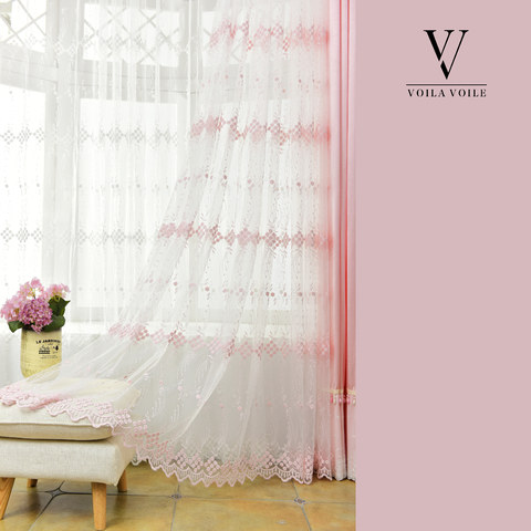 Small Great Things Pink Flower Embroidered Sheer Curtain 6
